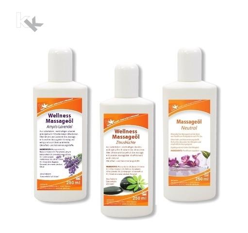 KK Wellness Massageöl Set | Amyris-Lavendel | Zitrusfrüchte | Neutral | 3 x 250 ml