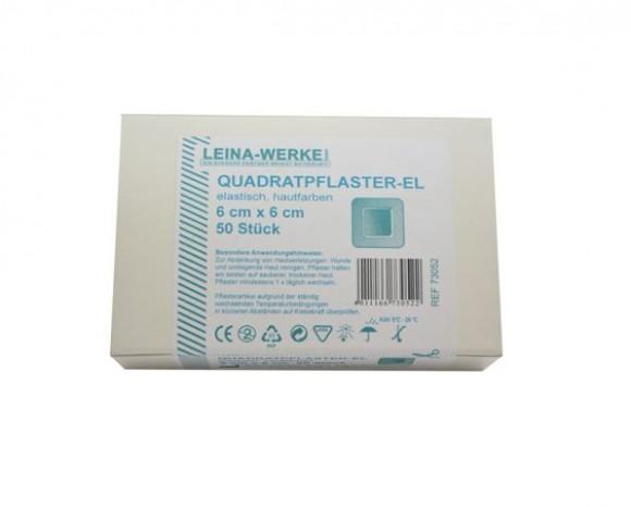 Quadratpflaster   Elastisch   Hautfarben   6 cm x 6 cm   50-teilig   73052