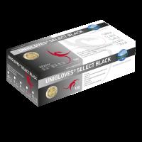 Unigloves Latexhandschuhe SELECT BLACK | XS - XL | 100 Stück/Box Box mit 100 St. / 5-6 x-small