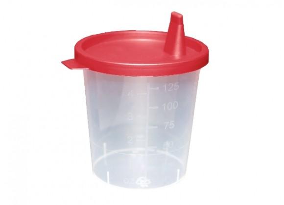 Urinsammelbehälter | 125 ml | Mit Deckel | 500 Stück/Karton