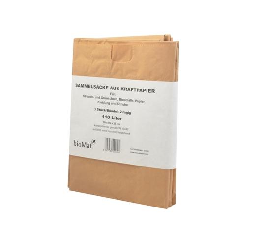 BIOMAT® Bio Abfallbeutel 7 L Kraftpapier kompostierbar Müllsack 40 St.//Bündel