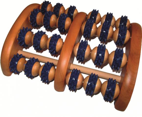 Sundo Massageroller   Aus Holz   Mit Kunststoffnoppen   Für beide Füsse