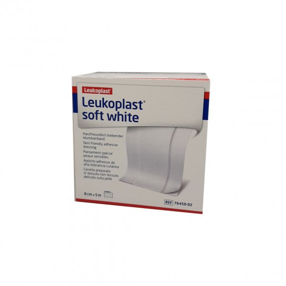 Leukoplast soft white | Pflaster mit Wundauflage | Weiß | 8 cm x 5 m Rolle