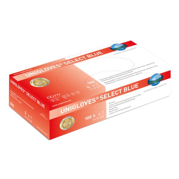 Unigloves SELECT BLUE   Latexhandschuh S-XL   100 Stück/Box