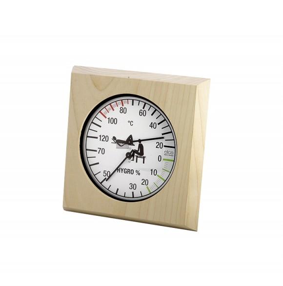 Eliga Klimamesser im hellen Holzrahmen 180 mm