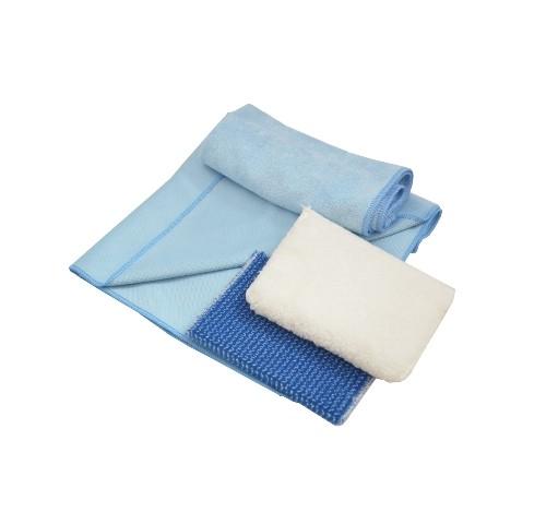 KK Fensterreinigungsset   Mikrofasertücher und Reinigungspads