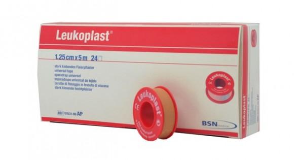 Leukoplast® | Fixierpflaster | Ohne Schutzring | 1,25 cm x 5 m Rolle